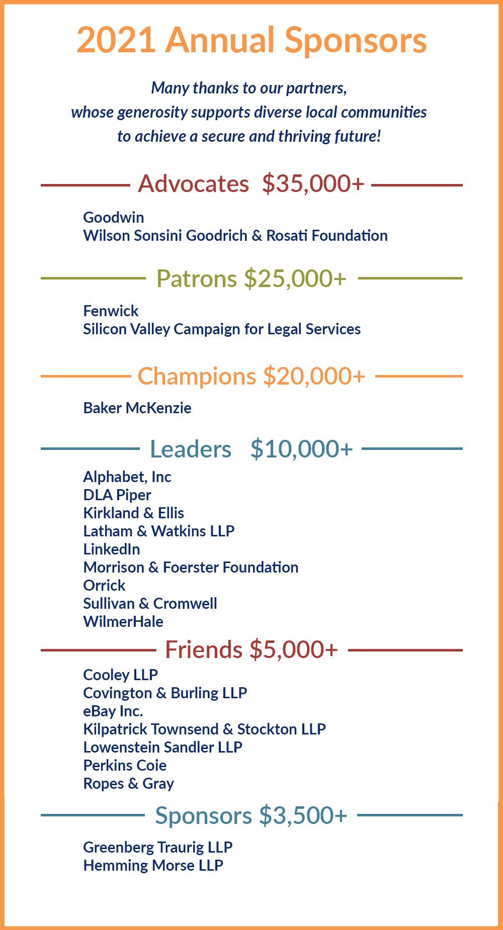 2021 Annual Sponsors